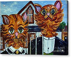 American Gothic Cats - A Parody Acrylic Print by Eloise Schneider