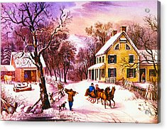 American Homestead Winter Acrylic Print by Currier and Ives