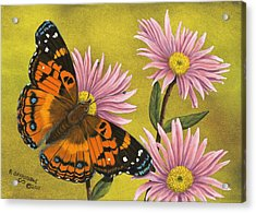 Aster Acrylic Print featuring the painting American Painted Lady by Rick Bainbridge