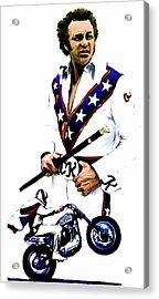 American Roulette V  Evel Knievel Acrylic Print by Iconic Images Art Gallery David Pucciarelli
