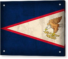 American Samoa Flag Vintage Distressed Finish Acrylic Print by Design Turnpike