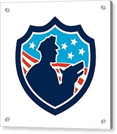 American Security Guard With Police Dog Shield Acrylic Print by Aloysius Patrimonio