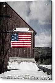 Americana Patriotic Barn Acrylic Print by Edward Fielding