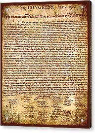 America's Declaration Of Independence  Acrylic Print by Li   van Saathoff