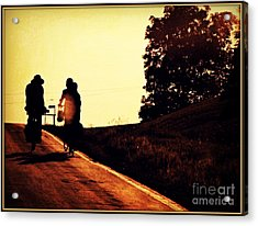 Amish Family Cycles Into Sunset Acrylic Print by Beth Ferris Sale