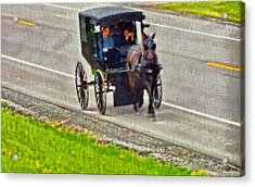 Amish Family In Horse And Buggy Acrylic Print by Dan Sproul