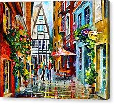 Amsterdam Street Acrylic Print by Leonid Afremov