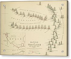 An 1848 Plan Of The Fleet Positions At The Battle Of Trafalgar Acrylic Print by Celestial Images