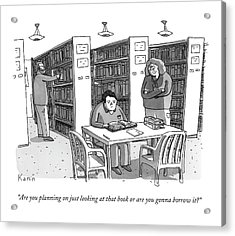 An Aged Librarian Speaks To A Man Reading A Book Acrylic Print by Zachary Kanin