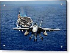 An F/a-18 Hornet Demonstrates Air Power. Acrylic Print by Sebastian Musial
