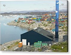 An Oil Fired Power Plant In Ilulissat Acrylic Print by Ashley Cooper