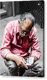 An Old Man Reading His Book Acrylic Print by Sotiris Filippou