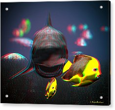 Anaglyph Shark And Fishes Acrylic Print by Ramon Martinez