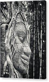 Ancient Buddha Stone Head Acrylic Print by Adam Romanowicz