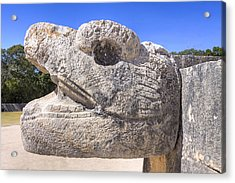 Ancient Mayan Serpent At Chichen Itza Acrylic Print by Mark E Tisdale