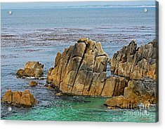Ancient Rocks At Pacific Grove Acrylic Print by Susan Wiedmann