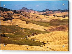 Andalusian Patchwork Fields I. Spain Acrylic Print by Jenny Rainbow