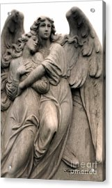 Angel Photography Guardian Angels Loving Embrace Acrylic Print by Kathy Fornal