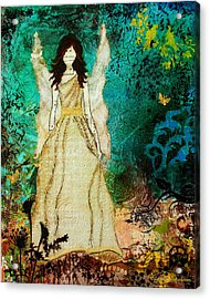 Angel In The Garden Inspirational Abstract Mixed Media Art Acrylic Print by Janelle Nichol