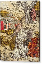 Angel With The Key Of The Abyss Acrylic Print by Albrecht Durer or Duerer