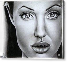 Angelina Jolie Acrylic Print by Atinderpal Singh