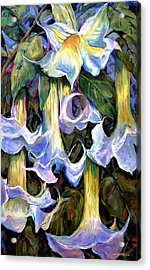 Angel's Trumpets - Floral Art By Betty Cummings Acrylic Print by Sharon Cummings
