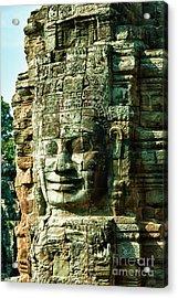 Angkor Bayon Stone Carving Cambodia Acrylic Print by Fototrav Print