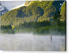 Angler Flyfishing For Rainbow Trout In Acrylic Print by Michael DeYoung