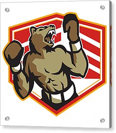 Angry Bear Boxer Boxing Retro Acrylic Print by Aloysius Patrimonio