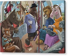 Animals On A Tube Train Subway Commute To Work Acrylic Print by Martin Davey