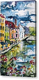 Annecy Canal And Swans France Watercolor Acrylic Print by Ginette Callaway