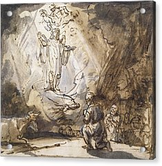 Annunciation To The Shepherds Acrylic Print by Rembrandt