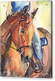 Horse In Watercolor Another Sunrise Acrylic Print by Maria's Watercolor