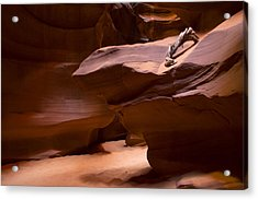 Antelope Canyon Hike Acrylic Print by Michael J Bauer