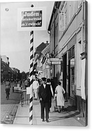 Anti-semitic Message In A Schwedt Acrylic Print by Everett