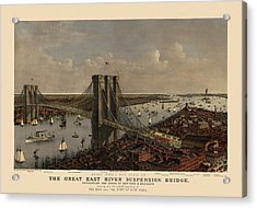 Antique Birds Eye View Of The Brooklyn Bridge And New York City By Currier And Ives - 1885 Acrylic Print by Blue Monocle