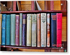 Antique Books On Shelf From 1860 Acrylic Print by Janice Rae Pariza