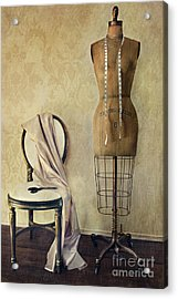 Antique Dress Form And Chair With Vintage Feeling Acrylic Print by Sandra Cunningham