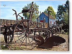Antique Farm Equipment End Of Row Acrylic Print by Lee Craig