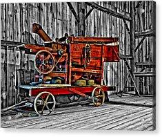 Antique Hay Baler Selective Color Acrylic Print by Steve Harrington