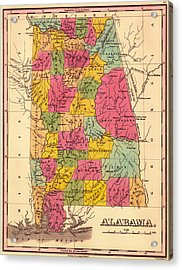 Antique Map Of Alabama 1833 Acrylic Print by Mountain Dreams