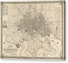 Antique Map Of Baltimore Maryland By Sidney And Neff - 1851 Acrylic Print by Blue Monocle