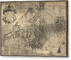 Antique Map Of Boston By William Price - 1769 Acrylic Print by Blue Monocle
