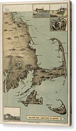 Antique Map Of Cape Cod Massachusetts By J. H. Wheeler - 1885 Acrylic Print by Blue Monocle