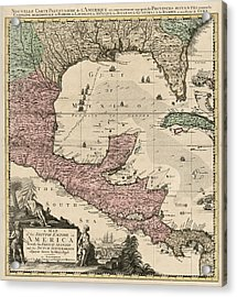 Antique Map Of Central America By Henry Popple - Circa 1733 Acrylic Print by Blue Monocle