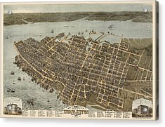 Antique Map Of Charleston South Carolina By C. N. Drie - 1872 Acrylic Print by Blue Monocle