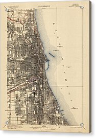 Antique Map Of Chicago - Usgs Topographic Map - 1901 Acrylic Print by Blue Monocle