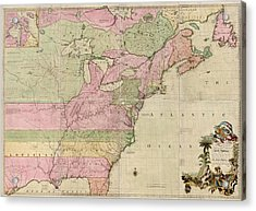 Antique Map Of Colonial America By John Mitchell - 1755 Acrylic Print by Blue Monocle