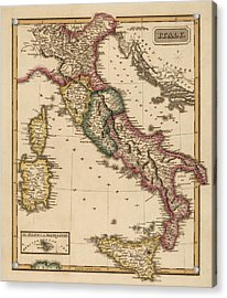 Antique Map Of Italy By Fielding Lucas - Circa 1817 Acrylic Print by Blue Monocle