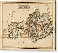 Antique Map Of Kentucky By Fielding Lucas - Circa 1817 Acrylic Print by Blue Monocle